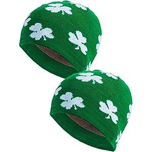 948db506e6d Zhanmai 2 Pieces St. Patrick s Day Shamrock Beanie Hat Green Clover Ski Cap  for Costume Accessory