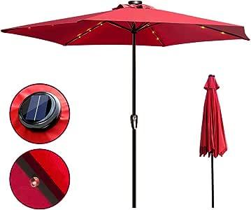 MASTERTOP 10 pies Paraguas Exteriores Sombrillas Parasol Grandes para Jardín Patio Terraza con Iluminación LED y 6 Costillas Resistentes (Roja): Amazon.es: Jardín