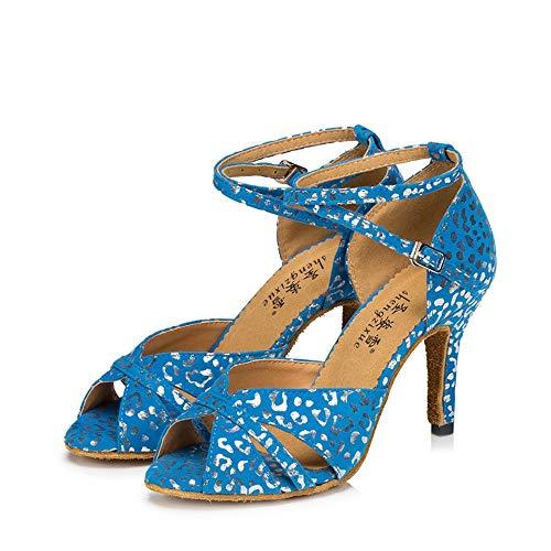 Latin Alti Tacchi da Suede Banchetto Sandali Scarpe Donna QXH Ballo Blue8 5cm da Dance 05PvUpqx