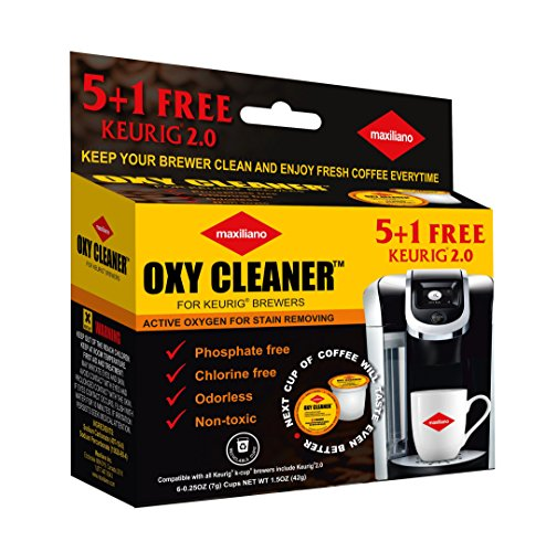 Maxiliano Cleaning Pods Compatible with K-Cup 2.0 Keurig, Stain Remover, Biodegradable, Non Toxic, 6 Cups Count per Pack.