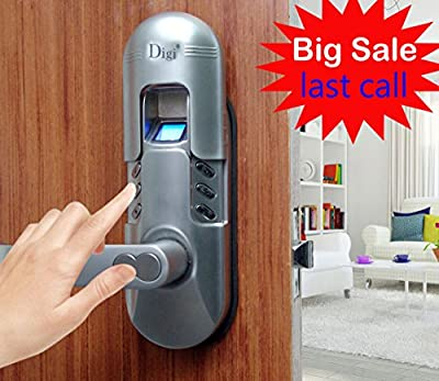 Assa Abloy Digi Weatherproof Electronic Fingerprint Door Lock for Home and Office Use with Keypad 6600-98 (Satin Chrome) Left Lever Handle