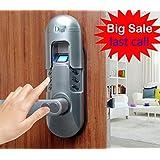 Digi Weatherproof Electronic Fingerprint Door Lock for Home and Office Use with Keypad 6600-98 (Satin Chrome) Left Lever Handle