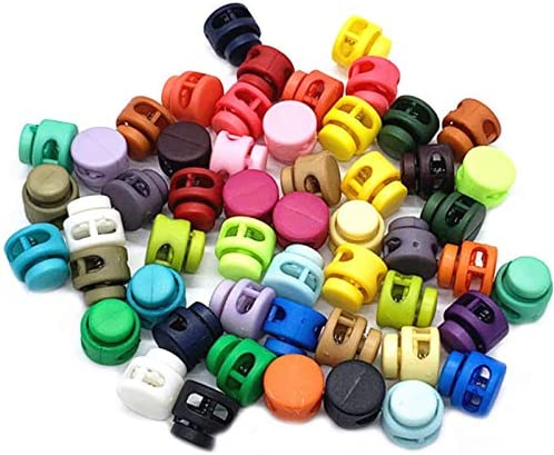 50 Stuks Kunststof Koord Sloten Spring Cord Locks Spring Buttons Double Hole Plastic Spring Toggle Stopper Slider Mixed Color voor Trekkoord Rugzak Camping Wandelen voor Touwen Einde
