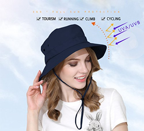 Jormatt Women&Mens Outdoor Wide Brim Sun Boonie Hat Summer UV Protection Fishing Hiking Gardening Neck Face Cover Flap Sun Cap with Chain Strap Foldable Breathable SPF UPF 50+,Navy Blue by Jormatt (Image #1)