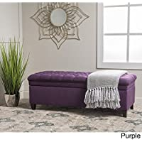 Home Modern Hastings Tufted Fabric Rectangular Storage Ottoman Bench Purple