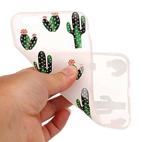 iPhone 6 / 6S Coque,3D Cactus fleurissant Premium Gel TPU Souple Silicone Transparent Clair Bumper Protection Housse Arrière Étui Pour Apple iPhone 6 / 6S + Deux cadeau