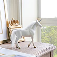Caveen Standing Unicorn Figurine Mythical Fantasia Unicorn Figure Toy Statue, Christmas Birthday Gift, Office Home Accent Decor