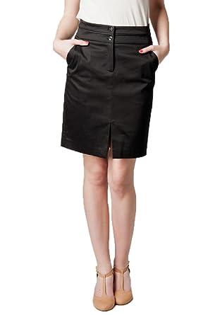 a18aac03d6 Kookai Women s Knee-Length Cotton Sateen Skirt Black UK 8  Amazon.co ...