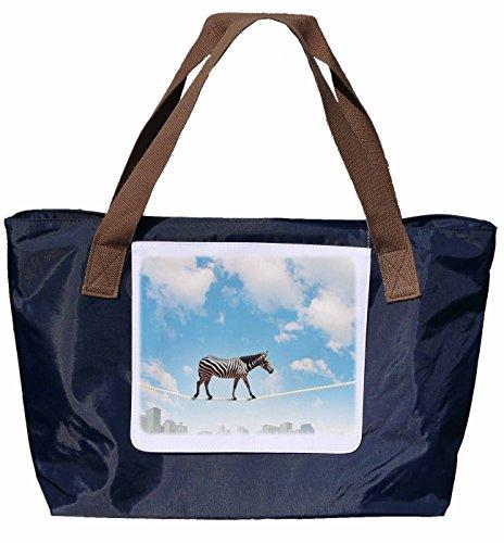 Shopper /Schultertasche / Einkaufstasche / Tragetasche / Umhängetasche aus Nylon in Navyblau - Größe 43x33cm - Motiv: Zebra auf dem Hochseil - 04