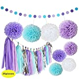 Mermaid Decorations Purple and Blue Tissue Paper Pom Poms Flowers Tissue Tassel Garland Polka Dot Paper Garland Kit for Baby Shower Party Sea Theme Birthday Decorations - 25Pcs