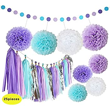 Marvelous Mermaid Decorations Purple And Blue Tissue Paper Pom Poms Flowers Tissue  Tassel Garland Polka Dot Paper