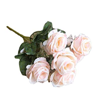 Amazon Com Artificial Flower 6 Heads Rose Bunch Diy Bridal