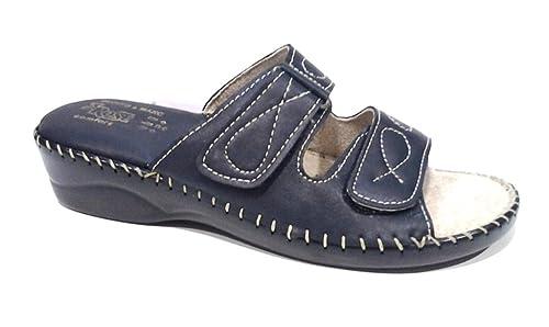 992e833aa4be62 3Rose Pantofole, Ciabatte Donna Linea Confort Art.42 Blu con Strappi (40)