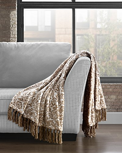 Cozy Fleece Fringe Throw with Damask Print, 50x70, Taupe