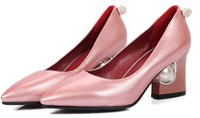 Aisun Damen Elegant Strass Kunstlich Perlen Spitz Ohne Verschluss Pumps Pink 42 EU KGPLyLkzaA