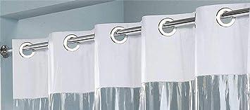 """Hookless Shower Curtain Vinyl White 71/"""" x 74/"""" See Thru Window  Thick 8 Gauge"""
