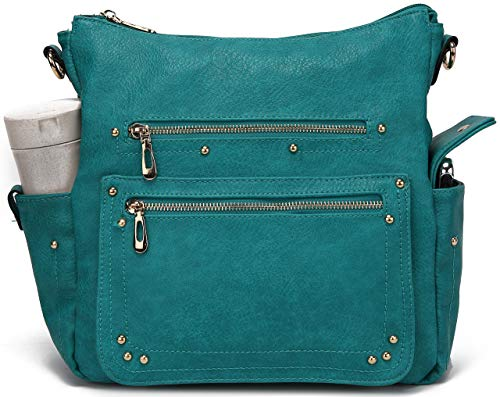 Teal Handbags Cheap. Women'S Soft Leather Tote Shoulder