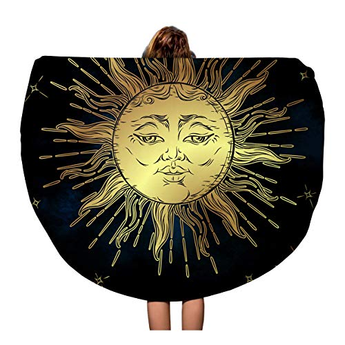 Semtomn 60 Inches Round Beach Towel Blanket Blue Golden Sun and Stars Boho Astrology Alchemy Magic Travel Circle Circular Towels Mat Tapestry Beach Throw ()