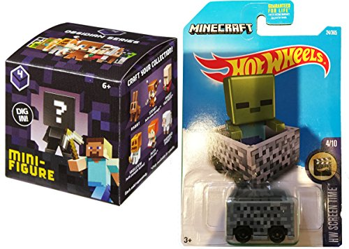 Hot Wheels 2017 Screen Time #24 MineCart Slime with Minecraft Collectible Figure Mystery Blind Box Character Mini Figures Obsidian Series Four