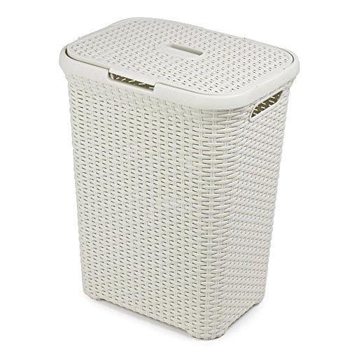 FunkyBuysLarge Rectangular WHITE Faux Rattan Laundry & Washing Basket - 60 Litres by FunkyBuys