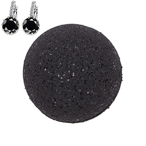 Addicted to Soap - Black Earrings Jewelry Bath Bomb | Ultra Luxurious - Extra Large 6oz Bath Bomb with STERLING SILVER Surprise Inside - Organic & Sensual Relaxation Handmade Love Texas
