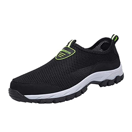 d9c6f24290d123 Sunshinehomely Men Outdoor Mesh Shoes Casual Slip On Sneakers Comfortable  Running Mountaineering Shoes (Black