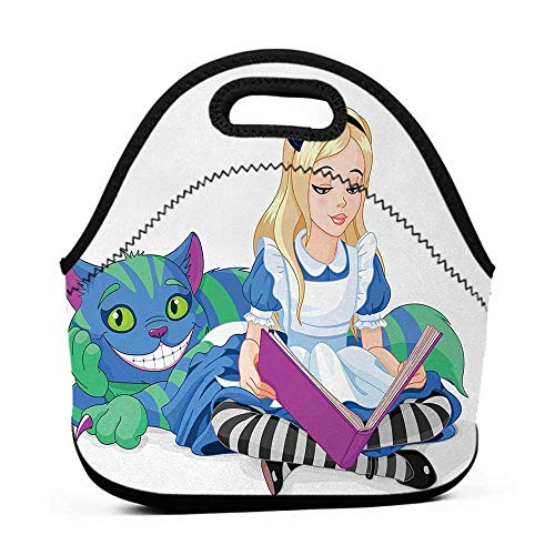 for Womens Mens Boys Girls Alice in Wonderland,Alice Reading Book Cat Colorful World Happiness Love Character Image,Multicolor,steelers lunch bag for -
