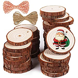 Best Epic Trends 51rpQbazlxL._SS300_ 5ARTH Natural Wood Slices - 37 Pcs 2.0-2.4 inches Craft Unfinished Wood kit Predrilled with Hole Wooden Circles for Arts…