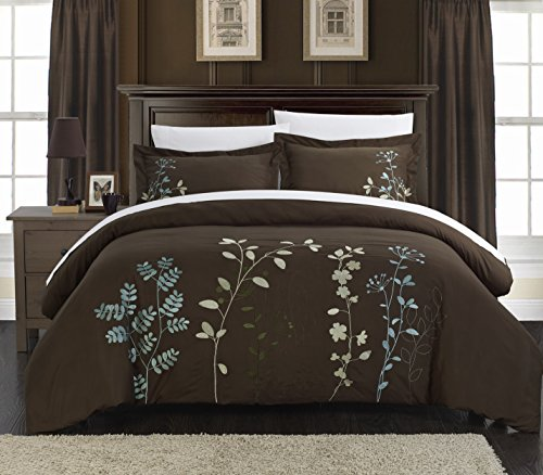 Chic Home 3 Piece Kaylee Floral Embroidered Duvet Set, King, Brown