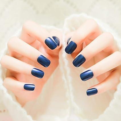 Jovono 24 uñas postizas de color azul sólido para mujeres y niñas ...