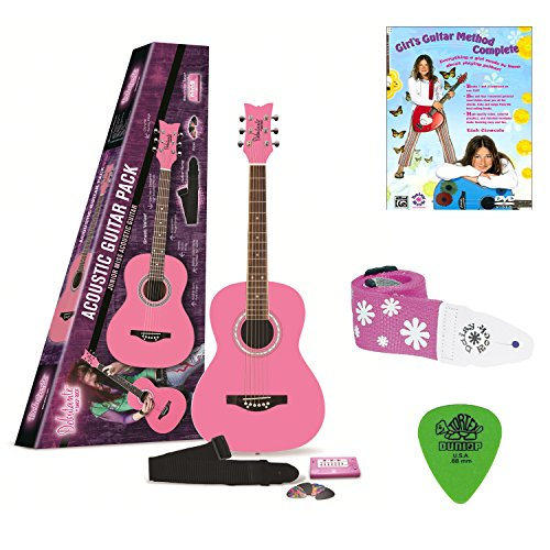 Daisy Rock Debutante Jr. Miss Acoustic Short Scale Bubble Gum Pink Guitar Pack with Guitar Method Book & DVD, Guitar Strap, and 12-Pack of Guitar Picks ()