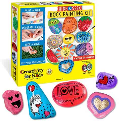 Creativity for Kids Hide and Seek Rock Painting Kit - Arts and Crafts for Kids - Includes Rocks and Waterproof Paint