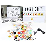Cinema Light Box,Delicacy A4 size Light Up Your Life LED Letter Box with Total 189 Characters and Colorful Symbols(104 letters and 85 symbols)