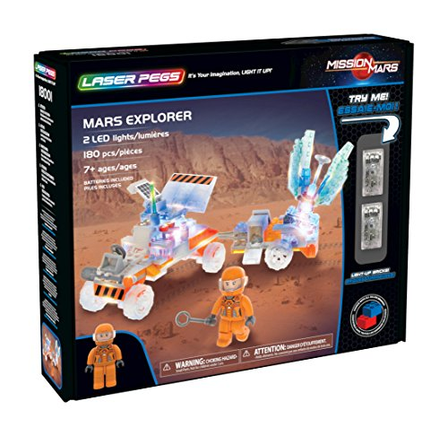 Laser Pegs Mars Explorer Light-Up Building Block Playset (180 Piece) The First Lighted Construction Toy to Ignite Your Child's Creativity; It's Your Imagination, Light It Up
