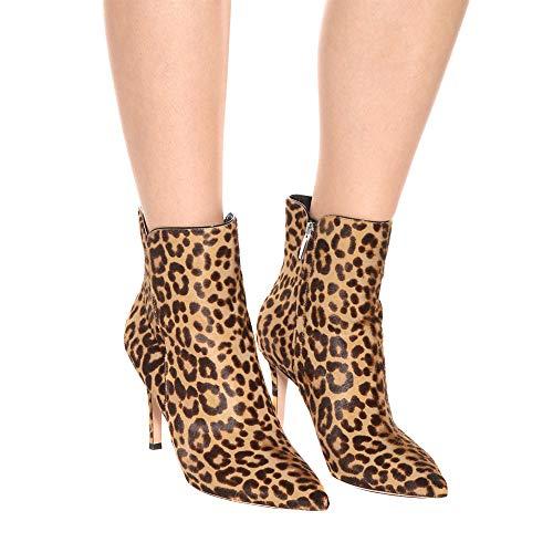 Spitz Stiefel Leopard Wildleder Handarbeit Knöchel Absatz Hoher Damen qO5CP