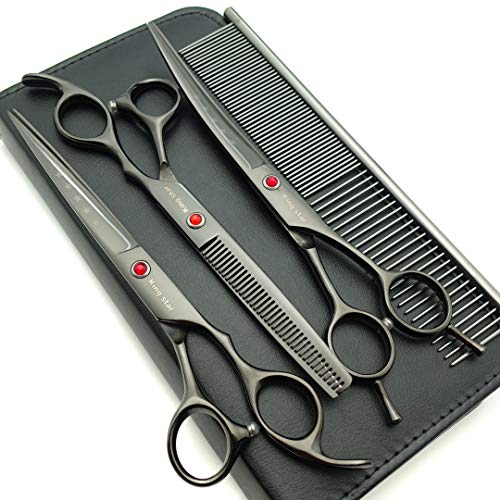 Kingstar 7.0in Professional Pet Grooming Scissors Set,Straight & Thinning & Curved Scissors 3pcs Set with Comb for Dog Grooming,A419 (Black-Grey)