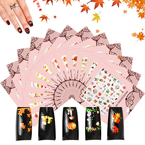 Leipple Autumn Fall Nail Art Stickers 12 Sheets - 400+ PCS 3D Maple Leaves Water Transfer Decals Self-Adhesive Stickers -Pumpkin Flowers Decoration for Women Girls DIY Thanksgiving Day (Thanksgiving)