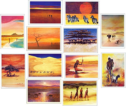 12 Pack of Wildlife & Scenic Artwork African Greeting Cards