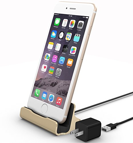 iPhone Charging Dock Kit by La Zuzzi, (Gold), - Iphone 5 Docking Station Adapter