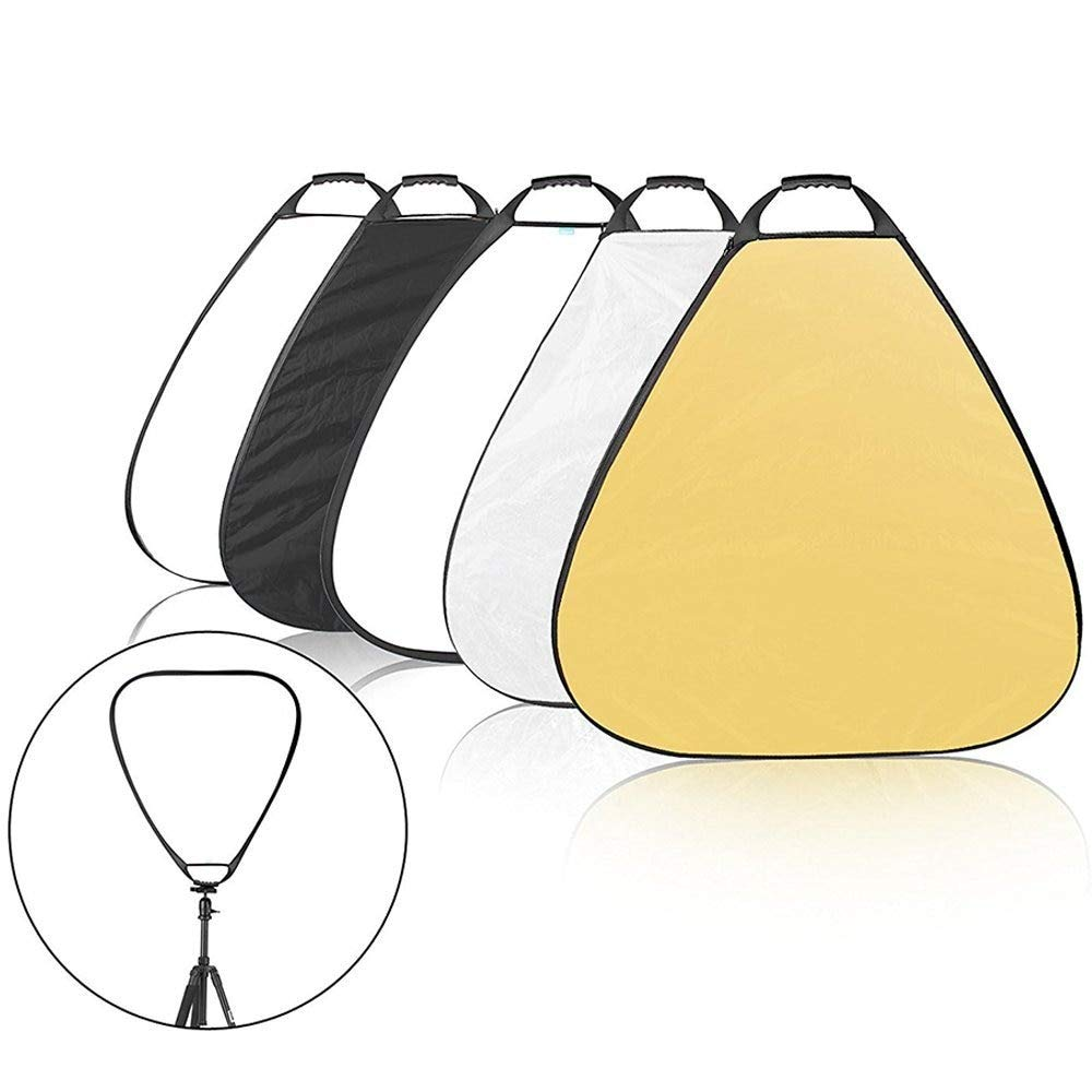 WuLian 80cm 31.5inch Centimeters 5 in 1 Collapsible Triangle Multi Camera Lighting Reflector Diffuser Kit with Grip and Carrying Case