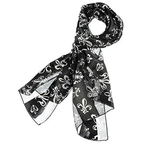 Mardi Gras Scarf Fleur De Lis (Black) (Mardi Gras Fashion)