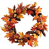 Nahuaa 19'' Fall Decor Wreath for Front Door Artificial Maple Leaf Autumn Garland with Fake Pumpkins and Pine Cone for Home Office Yard Thanksgiving Harvest Halloween Display Decoration