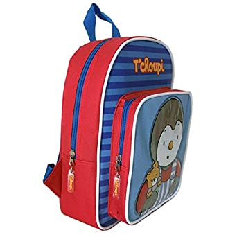 Sac a dos Tchoupi bleu et rouge avec poche avant pour la maternelle