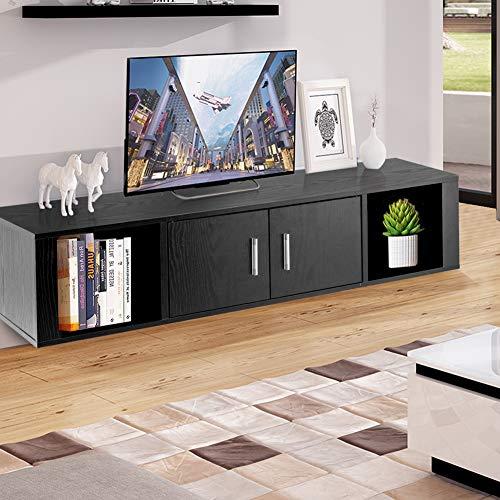 Wall Black Storage Cabinet - WATERJOY Wall Mounted Hanging Floating Desk Hutch Storage Shelves, Media Storage Display Hutch, Home Office Furniture, Black