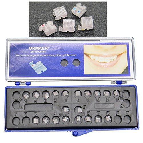 Dentamall Dental Clear Brackets Roth 0.022 Slot with 3 4 5 Hooks Orthodontic Mini Ceramic Brackets Mesh Below