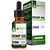 Hemp Oil Drops (250mg) - High Quality Formula - 100% Natural Ingredients - Assists w/Pain Management - Promotes Relaxation - One Month Supply