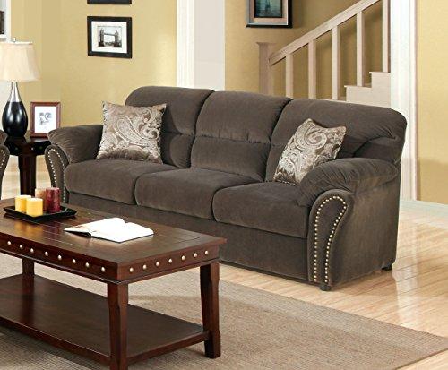 Furniture of America Frandior Flannelette Fabric Upholstered Sofa, Chocolate Finish