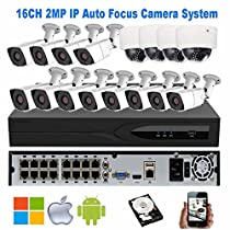 NightKing Outdoor 16CH Security Auto Focus IP Camera System,16CH 5MP POE NVR,(12) 2MP IP Bullet Camera,(4) 2MP POE Vandal Dome Camera,Motorized Lens 2.8~12mm,100Ft Night Vision,Free App Mobile View