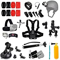 Xtech Biking / Camping / Hiking / Climbing / Traveling ACCESSORIES KIT for GoPro Hero 4 3+ 3 2 1 Hero4 Hero3 Hero2, Hero 4 Silver, Hero 4 Black, Hero 3+ Hero3+ and for Bike Riding, Biking, Cycling, Racing, Dirt Bikes, Dirt Track Racing, Rollerblading/ Skating/ Motorcycle Racing, Rallying, Uni-Cycling and other Similar Sports Activities Includes: Bike Mount + Helmet Mount + Adjustable Chest Strap Mount + Head Strap Mount + Car Suction Mount +MORE