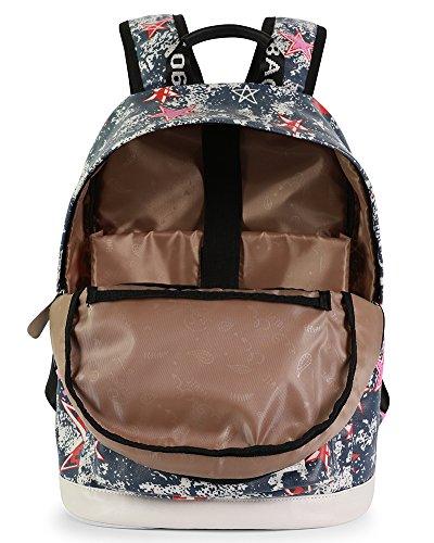 Donna Vintage Stampa Zaino in Tela Casual Zaini Scuola Viaggio Borsa Backpack Blu